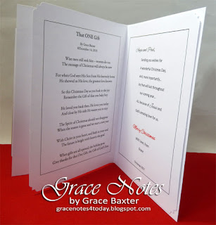 Figure skates Christmas card, inside. Poem and verse by Grace Baxter
