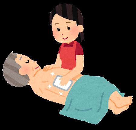 体を拭く介護士のイラスト