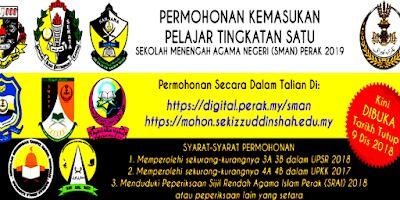 Permohonan SMA Negeri Perak 2019 SMAN Online