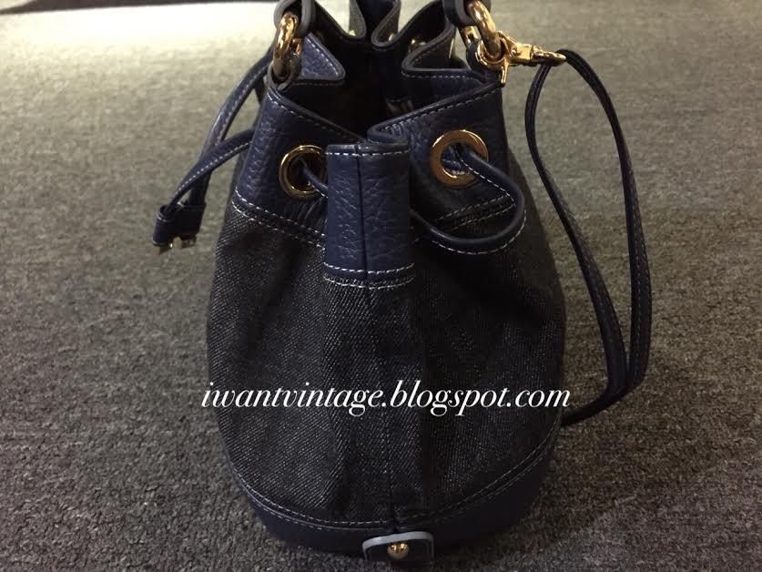 I Want Vintage Designer Handbags Burberry Blue Label Denim Leather Bucket Bag