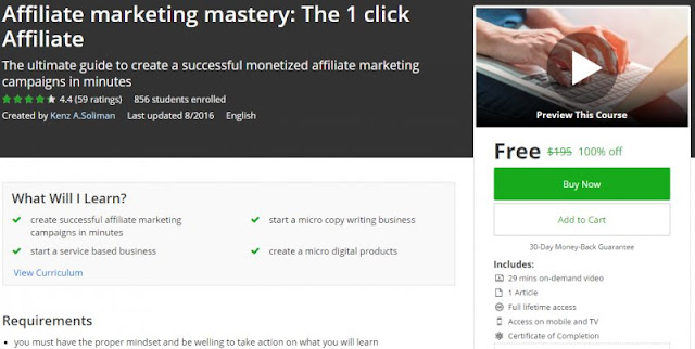 [100% Off] Affiliate marketing mastery: The 1 click Affiliate | Worth 195$