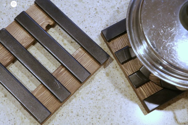 Easy to make trivets with repurposed crib slats