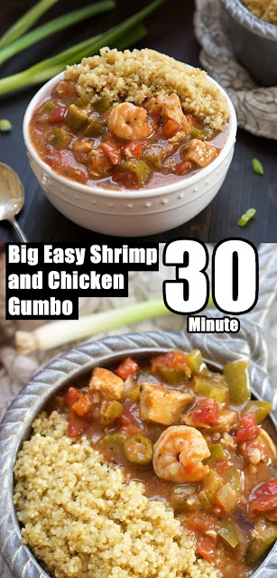 Quick and Easy One Bowl 30 Minute Big Easy Shrimp and Chicken Gumbo