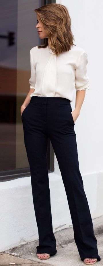 office style_blouse + black pants