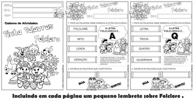 Caderno de Atividades Pinta Palavras Folclore