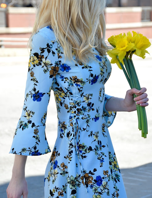 floral, flowers, tiptop, blue dress, spring style, floral dress,
