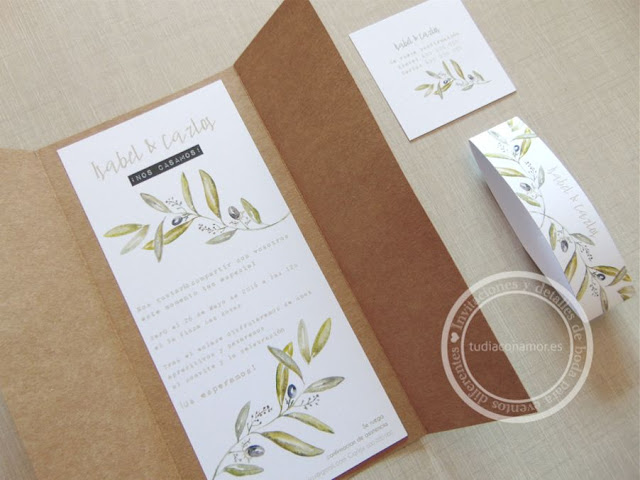 Invitación de boda en ramas de olivo de acuarela y tarjetón en papel reciclado kraft