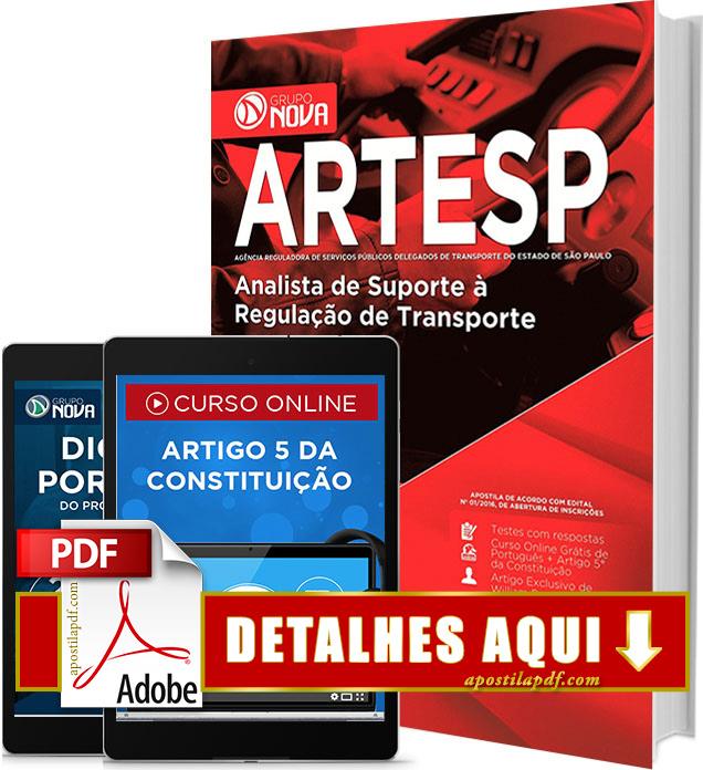 Apostila ARTESP 2017 PDF Impressa Analista de Suporte à Regulação de Transporte