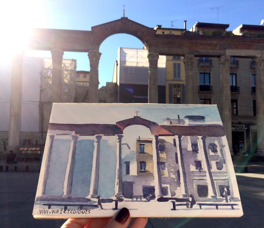 07-Colonne-di-San-Lorenzo-Viktoria-Kravchenko-Architecture-Student-Paints-City-Scenes-Watercolors-www-designstack-co