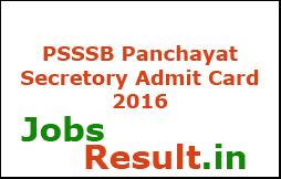 PSSSB Panchayat Secretory Admit Card 2016