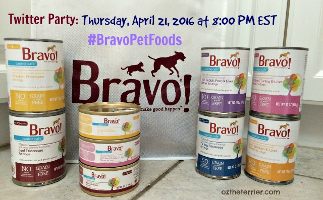 Oz's Bravo Pet Foods Twitter Party April 21, 2016 at 8 PM