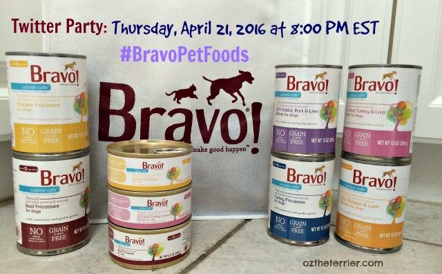Oz's Bravo Pet Foods Twitter Party April 21, 2016 at 8 PM
