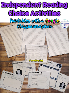 worksheets and Google classroom choice reading activities