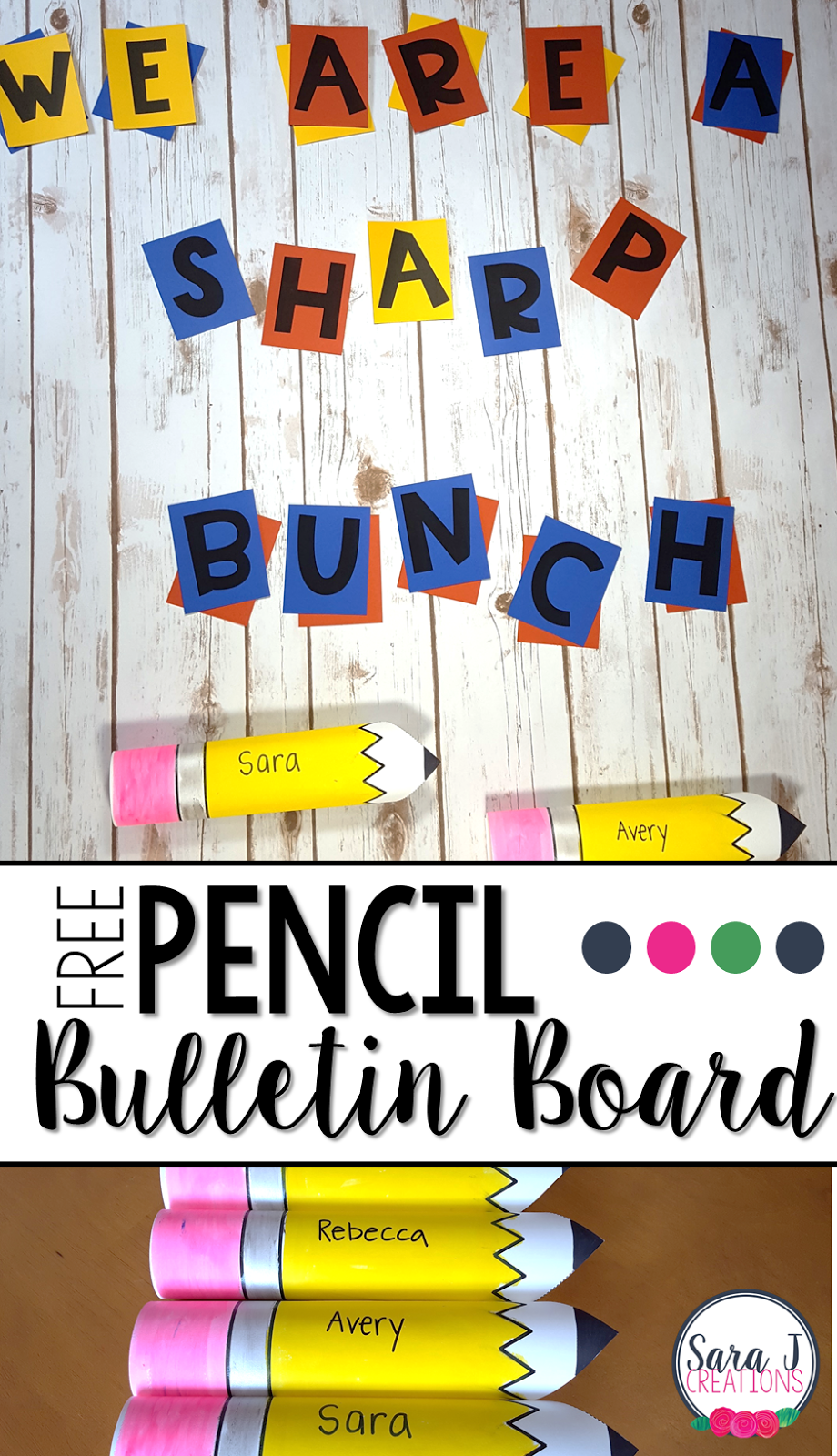 Free back to school bulletin board idea that includes free pencil printables and letter so you can DIY