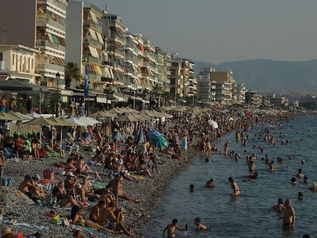 Busy on Loutraki beach, Greece!