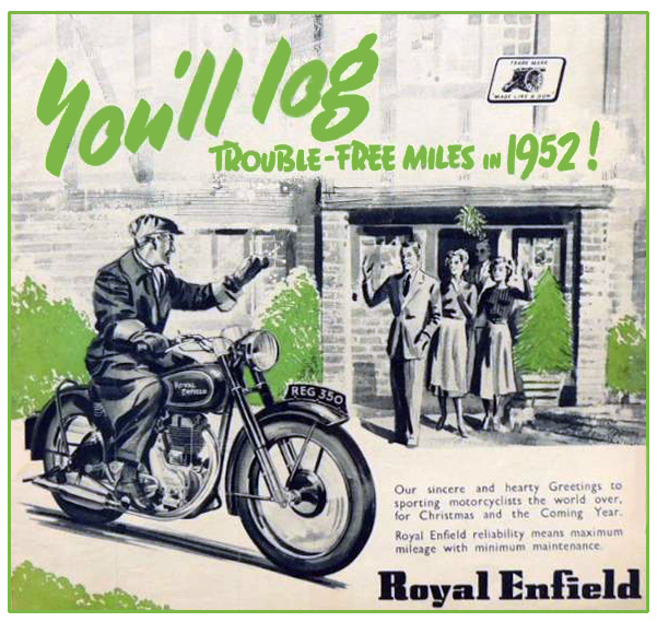 1951 ad for Royal Enfield motorcycle.