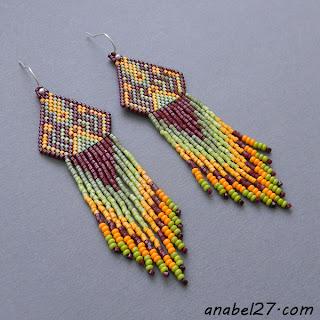 Яркие серьги ручной работы в этническом стиле купить в интернет магазине украшений