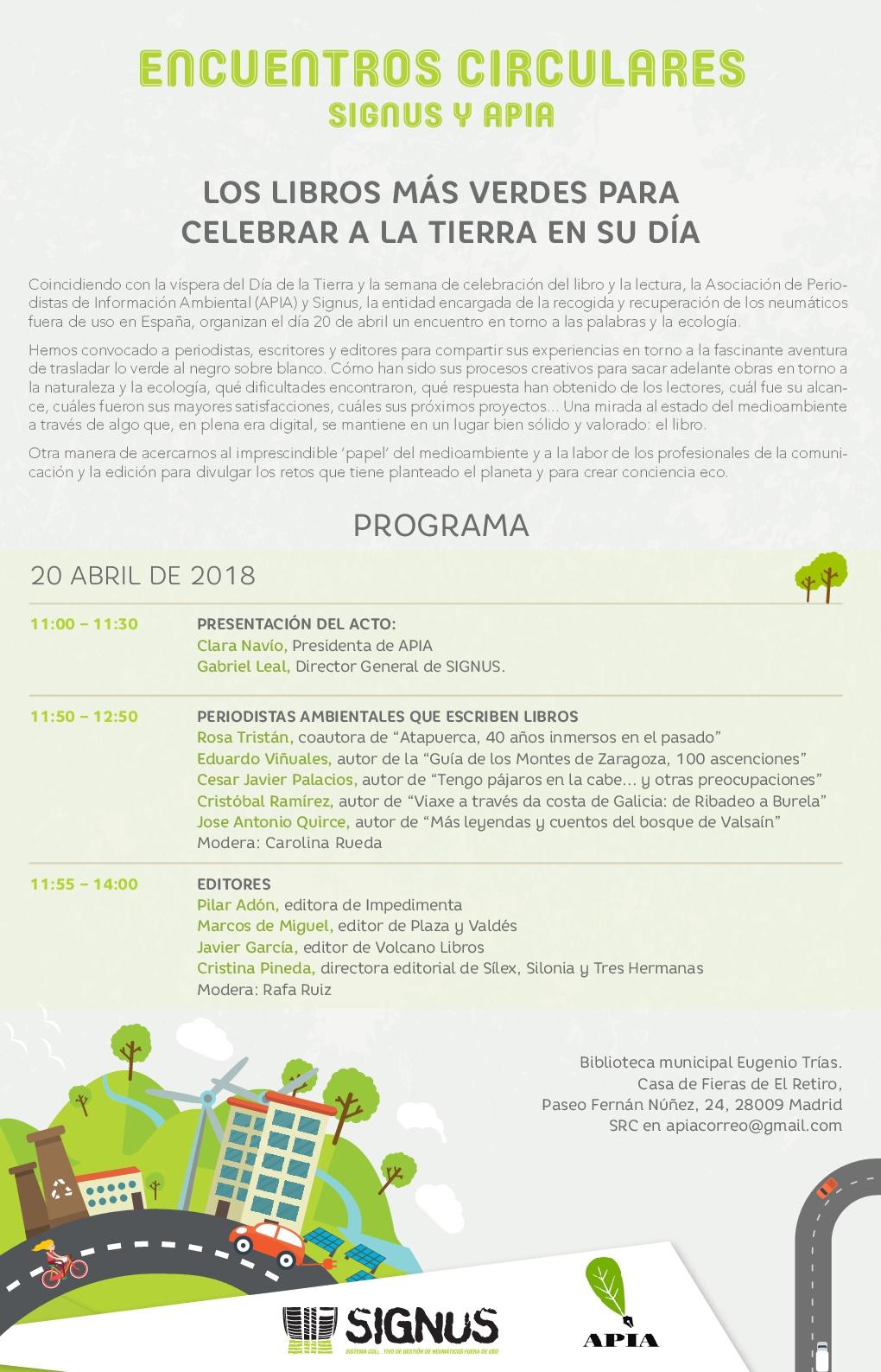 Leer en Madrid: Escribir sobre Naturaleza - Signus y APIA