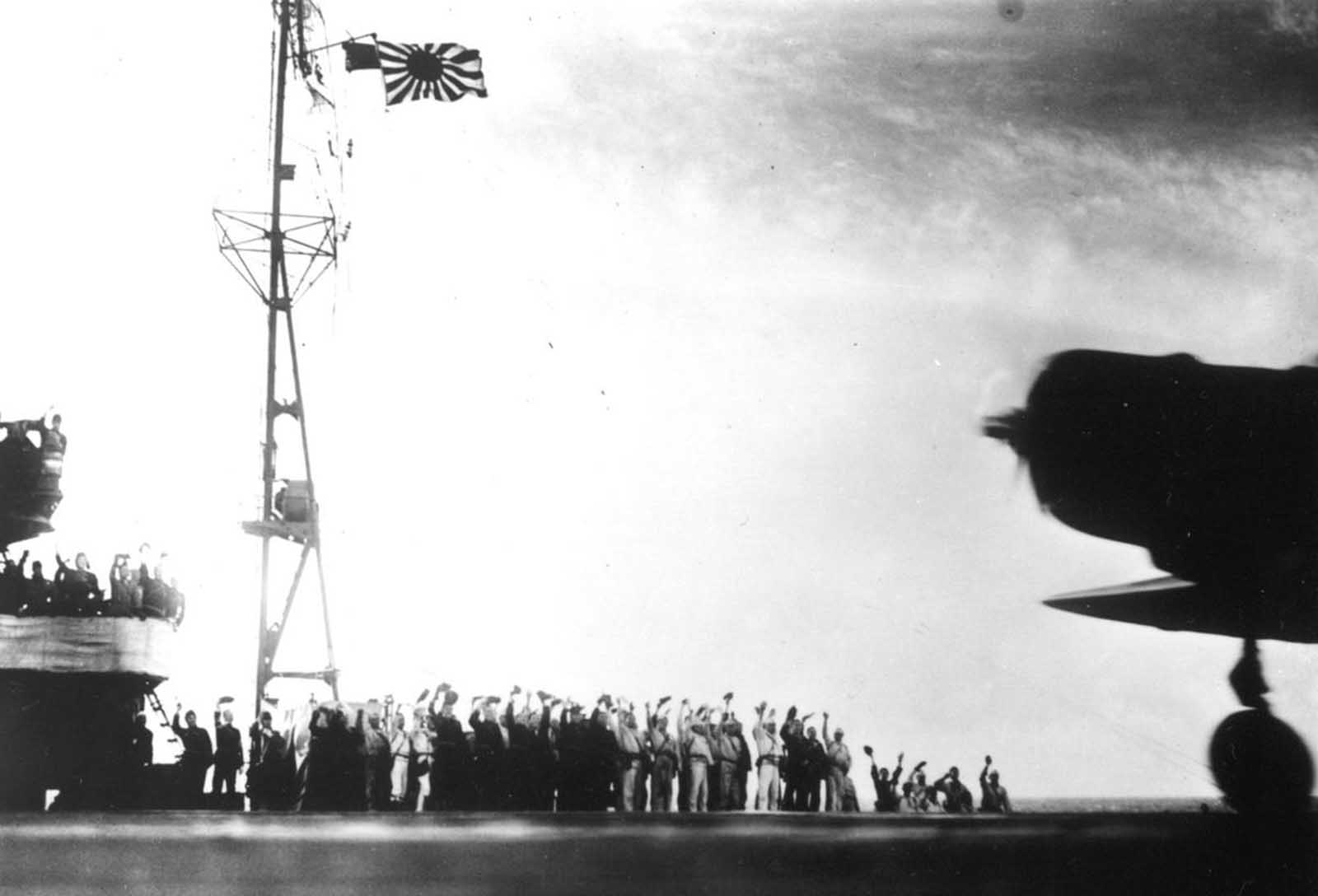 This photograph, from a Japanese film later captured by American forces, was taken aboard the Japanese aircraft carrier Zuikaku, just as a Nakajima