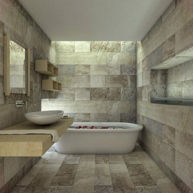 kamar mandi kecil klasik minimalis batu alam