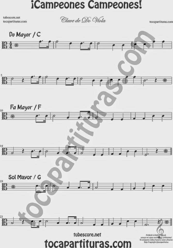 ¡Campones campeones Partitura de Viola en Clave de Do en tercera Easy Sheet Music