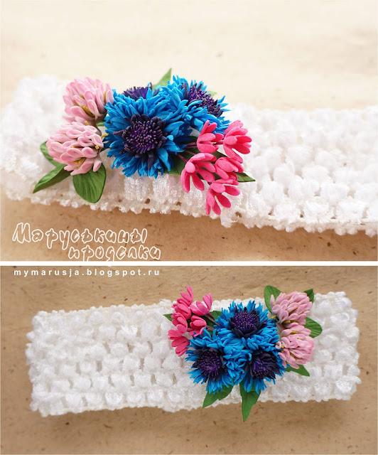повязка на голову с цветами для девочек
