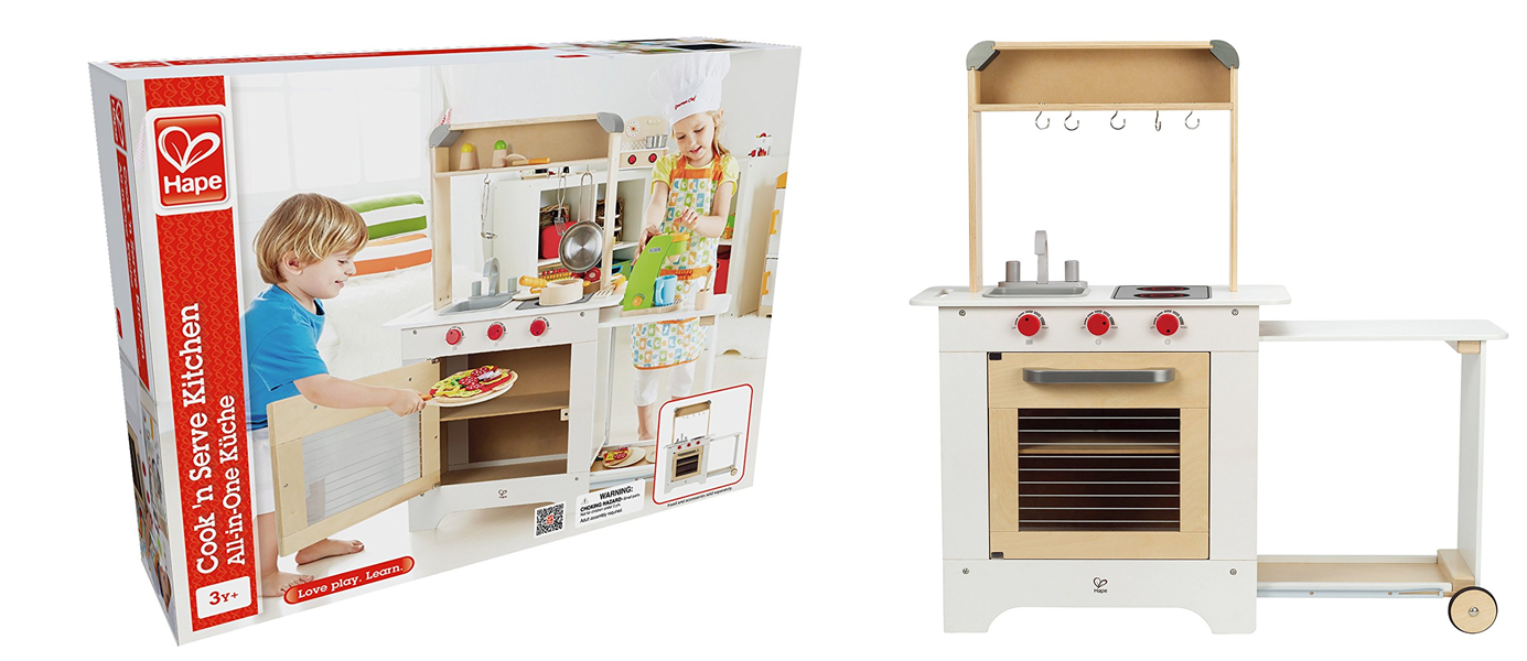 Head Over To And This Hape Cook N Serve Wooden Kitchen Play Set For 59 95 Reg 149 99 It Includes Clicking S A Chalkboard Sink