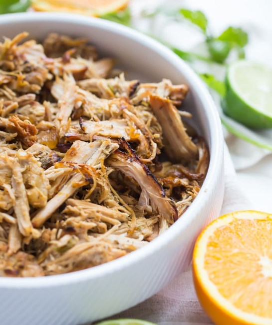 Crockpot Carnitas from Pork Tenderloin (Paleo, Whole30, Low Carb, Keto) #lowcarb #whole30