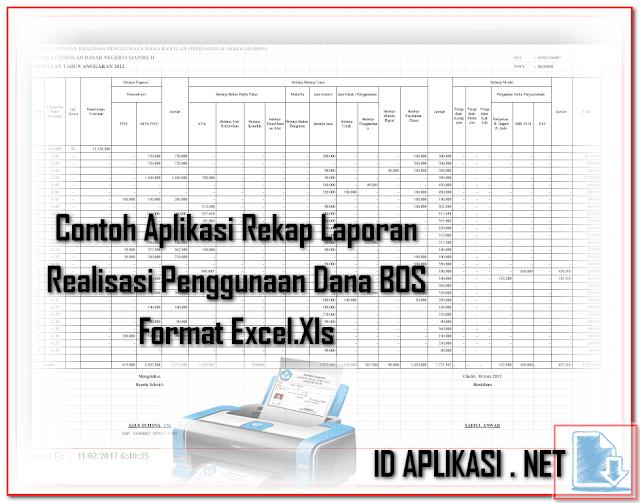 Contoh Aplikasi Rekap Laporan Realisasi Penggunaan Dana BOS Format Excel.Xls