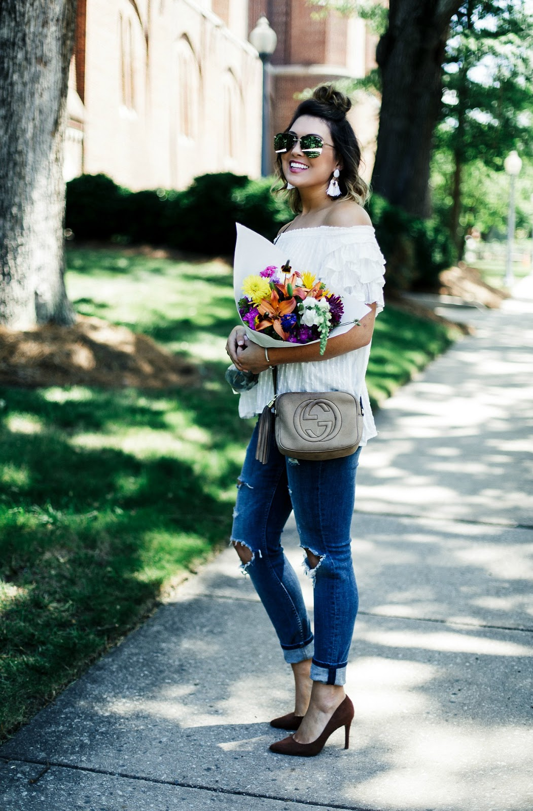 off the shoulder ruffle top, quay playa sunglasses, gucci soho disco