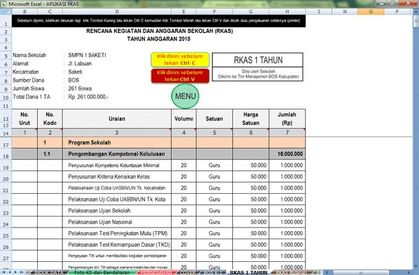 Aplikasi dan Contoh RKAS Format Microsoft Excel
