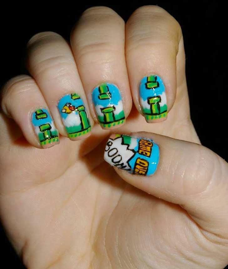 Uñas azules y verde al estilo super mario
