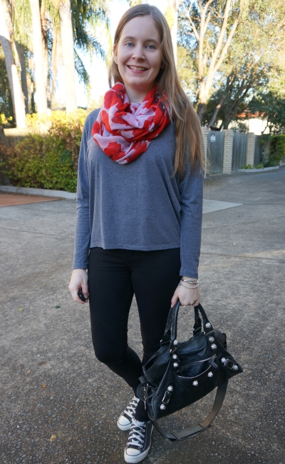 monochrome grey long sleeve tee outfit nobody denim skinny jeans converse poppy print scarf | awayfromblue