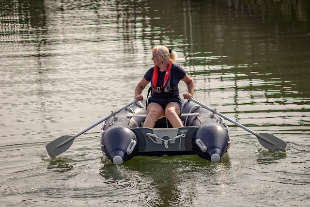 Photo of my pathetic first attempt at rowing our dinghy 😊