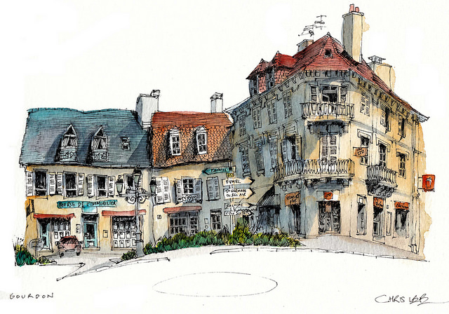 09-France-Gourdon-Chris-Lee-Charming-Architectural-wobbly-Drawings-and-Paintings-www-designstack-co