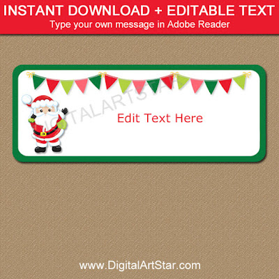 christmas gift label idea - cute printable Santa labels with editable text