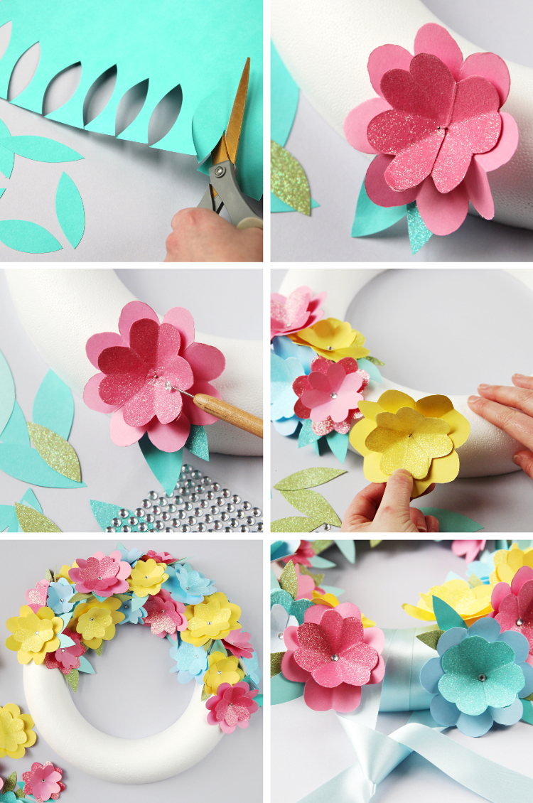 Diy spring paper flower wreath gathering beauty for Flower making at home