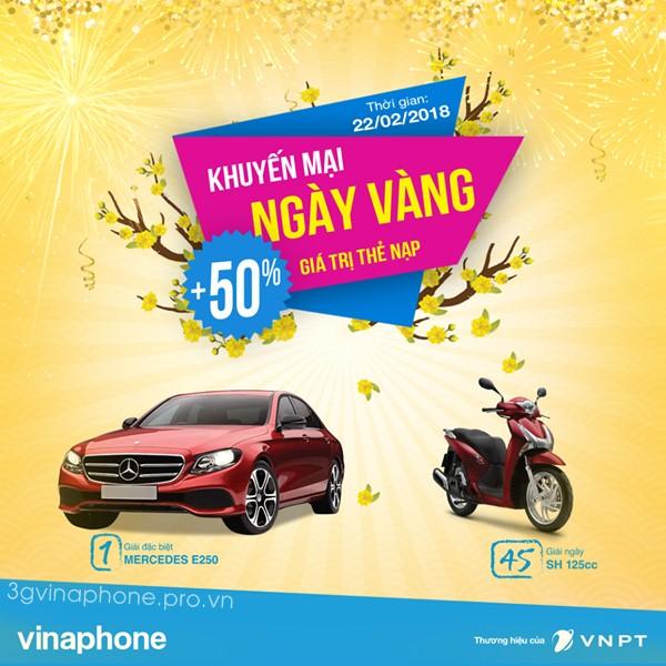 Vinaphone tặng 50% giá trị thẻ nạp chào năm mới ngày 22/2/2018