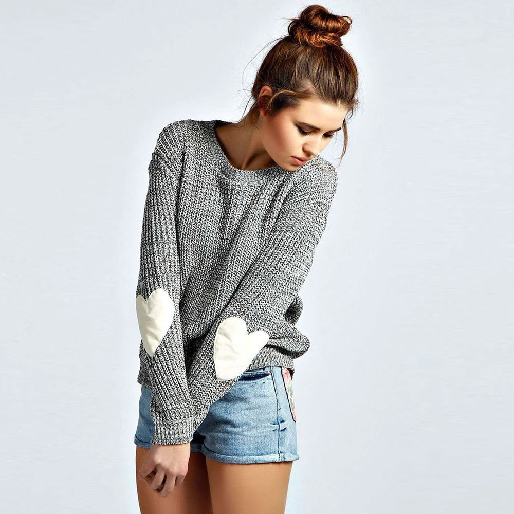 6d6c6274159a9b Women Sweater Pullover Basic Rib Knitted Jumper All Match Loose Casual  Female Solid Gray Long Sleeve Autumn Winter Heart Shaped