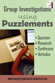Use puzzlements as a form of group investigations in your classroom to get kids pondering, questioning, researching, synthesizing, and verbalizing their learning in any subject area.