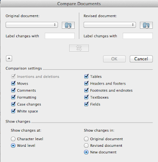 MS Word Compare Documents menu