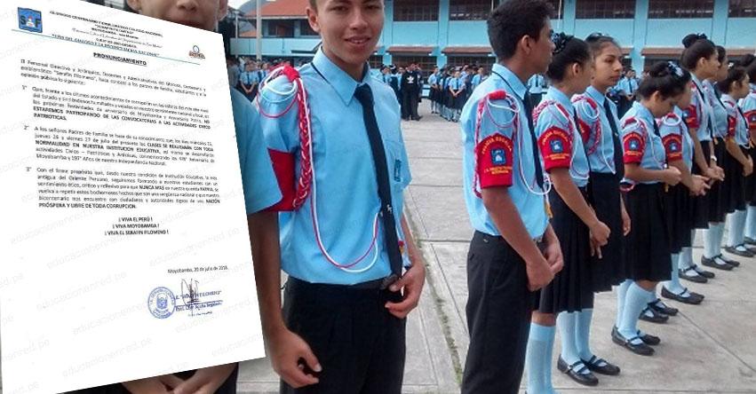 Centenario Colegio Serafín Filomeno de Moyobamba no participará en desfile patrio en señal de protesta por corrupción en el CNM, según comunicado