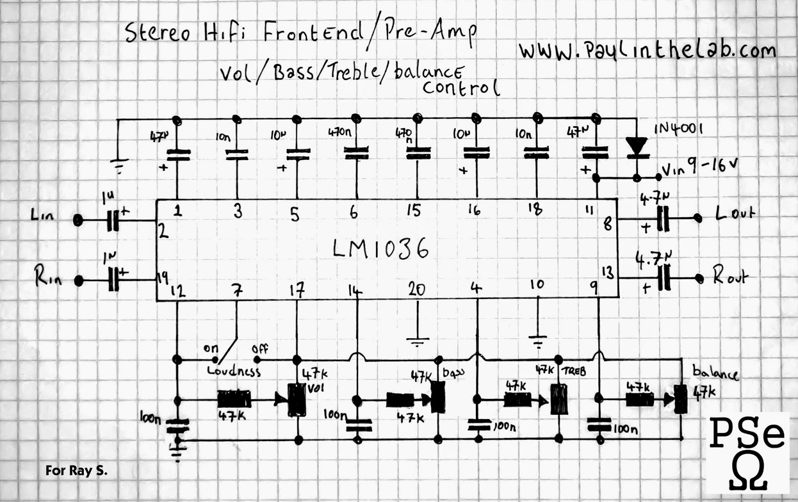 Paul In The Lab Lm1036 Hifi Preamp And Tone Control Stripboard Treble All Pots Are 47k Linear Voltage Range Is Between 9 16volts Official Datasheet Can Be Found Here