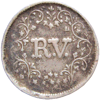 RV, the initials of Majaraja within a wreath as in British India Coinage.