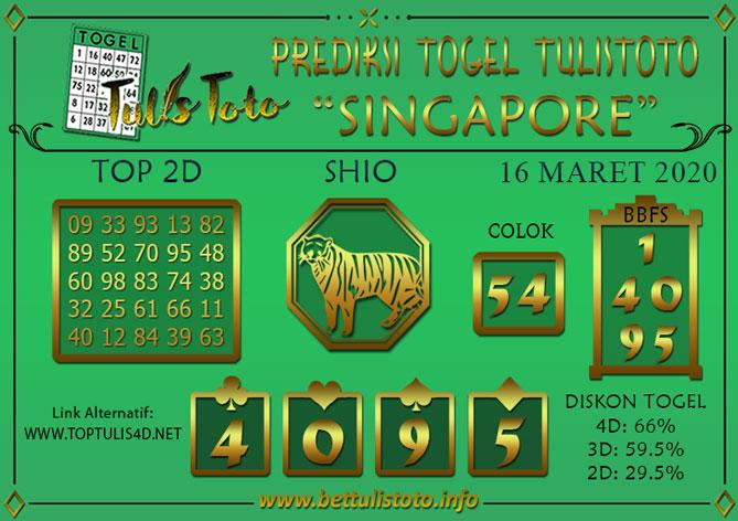 Prediksi Togel SINGAPORE TULISTOTO 16 MARET 2020
