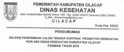 Seleksi Penerimaan Calon Tenaga Kontrak Promotor Kesehatan Non ASN Dinas Kesehatan Kabupaten Cilacap Formasi Tahun 2018