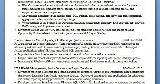 report developer sample resume format in word free download