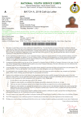 nysc call up letter sample