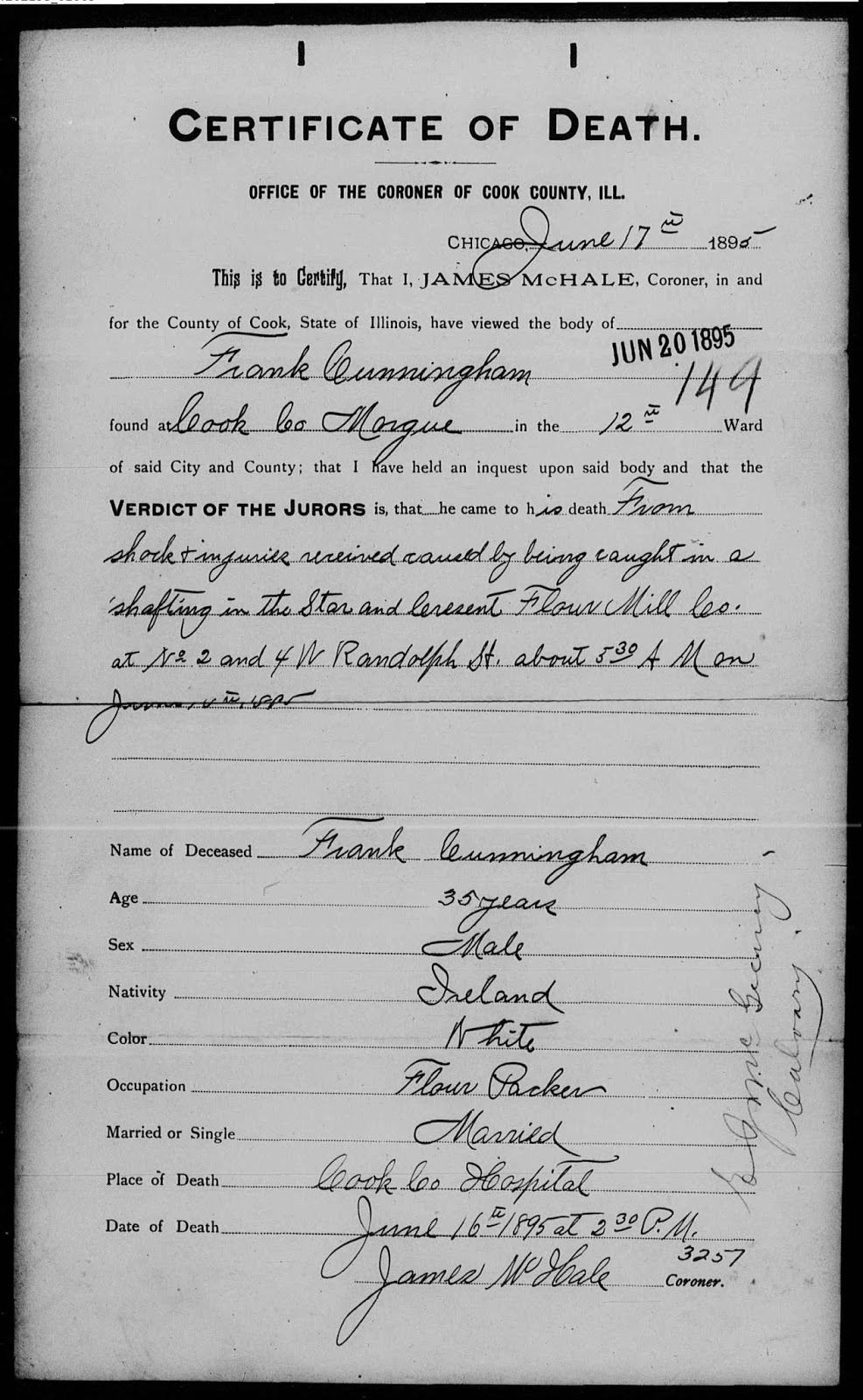 Chicagogenealogy research insights from study and serendipity example of a coroners death certificate 1 xflitez Choice Image