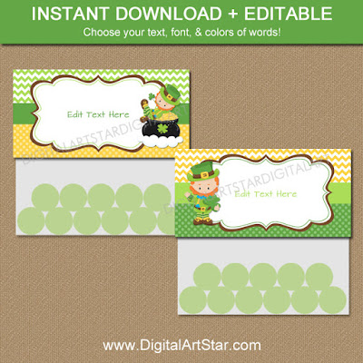 st patricks day treat bag topper download with cute leprechauns for kids